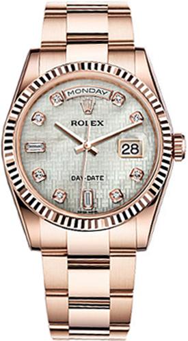 replique Rolex Day-Date 36 nacre montre cadran en or 118235