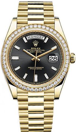replique Rolex Day-Date 40 Black Diamond Dial Montre en or pour homme 228348RBR