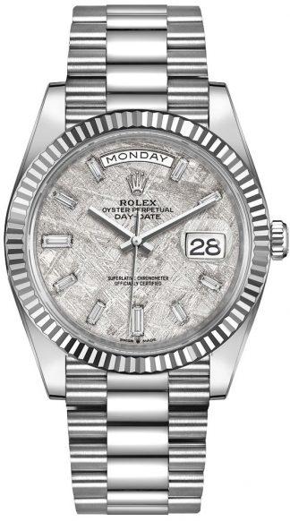 replique Rolex Day-Date 40 Meteorite Dial lunette cannelée montre homme 228239