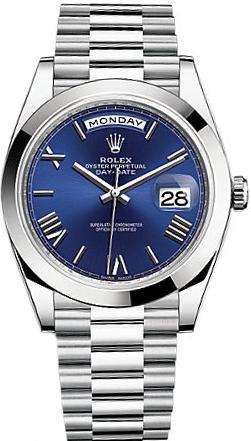 replique Rolex Day-Date 40 Montre à cadran bleu platine pour homme 228206