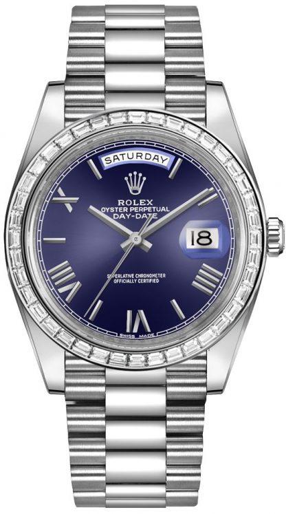 replique Rolex Day-Date 40 cadran bleu Président Bracelet montre homme 228396TBR