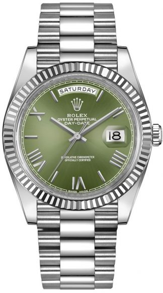 replique Rolex Day-Date 40 cadran vert montre en or blanc 228239
