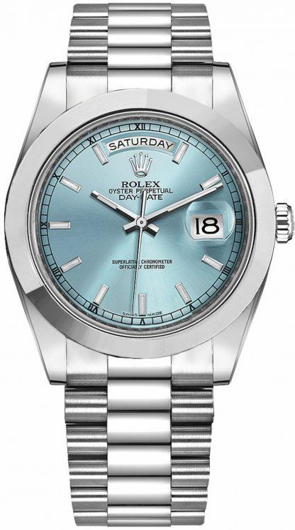 replique Rolex Day-Date 41 Ice Blue Dial President Bracelet Montre en platine 218206
