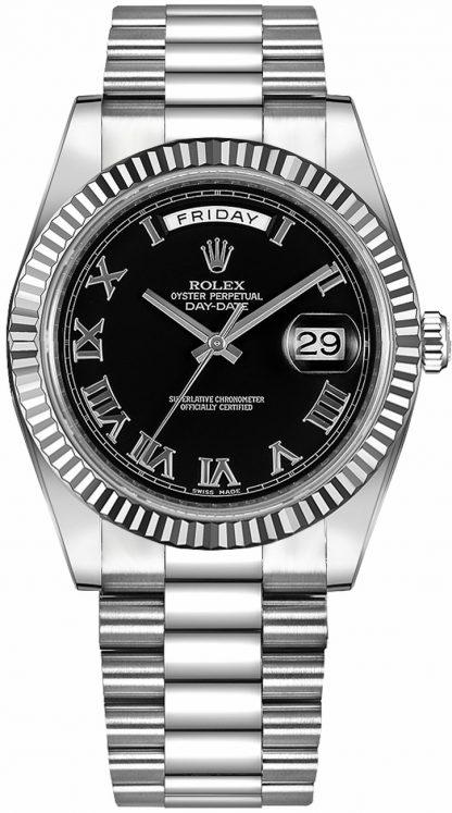 replique Rolex Day-Date 41 Montre en or noir à chiffres romains pour homme 218239