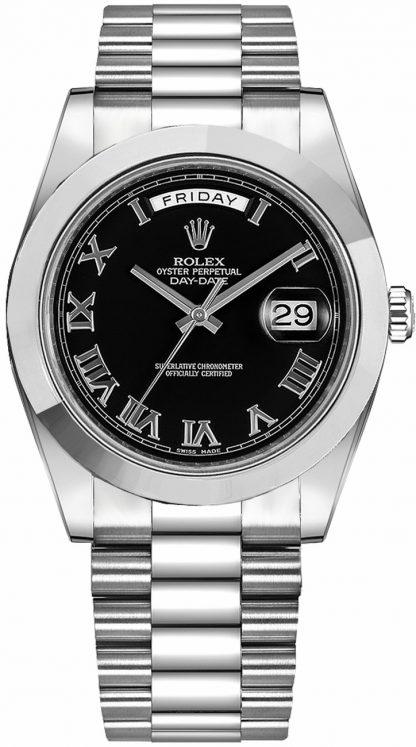 replique Rolex Day-Date 41 Montre en platine à chiffres romains noirs 218206