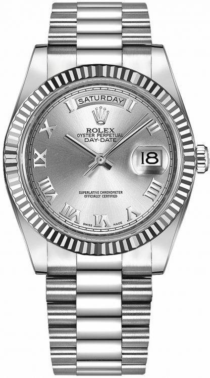 replique Rolex Day-Date 41 argent cadran chiffre romain or montre homme 218239
