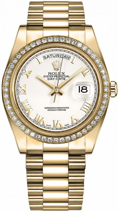 replique Rolex Day-Date 41 cadran blanc à chiffres romains en or 218348