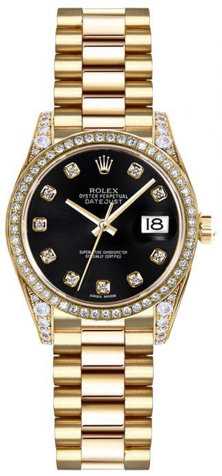 replique Rolex Lady-Datejust 26 Black Diamond Dial Montre en or 179158