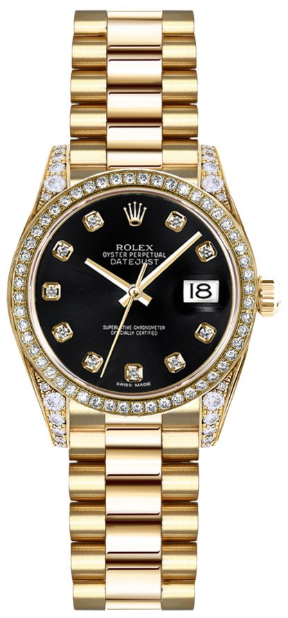 replique Rolex Lady-Datejust 26 Black Diamond Dial Montre en or 179158