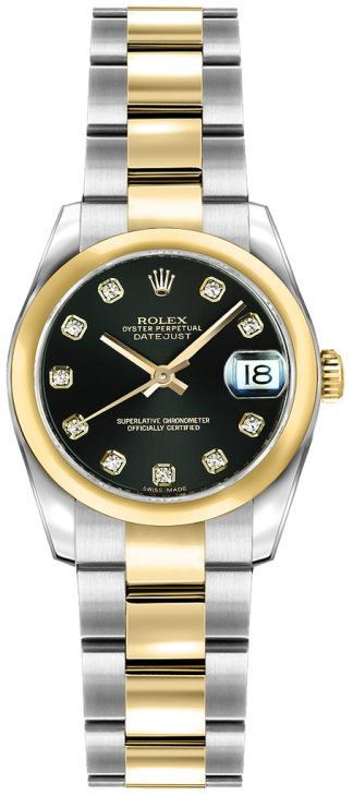 replique Rolex Lady-Datejust 26 Black Diamond Oyster Bracelet Watch 179163