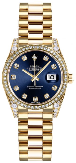replique Rolex Lady-Datejust 26 Blue Diamond Dial Montre en or 179158