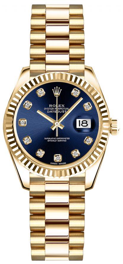 replique Rolex Lady-Datejust 26 Blue Diamond Dial Montre en or 179178