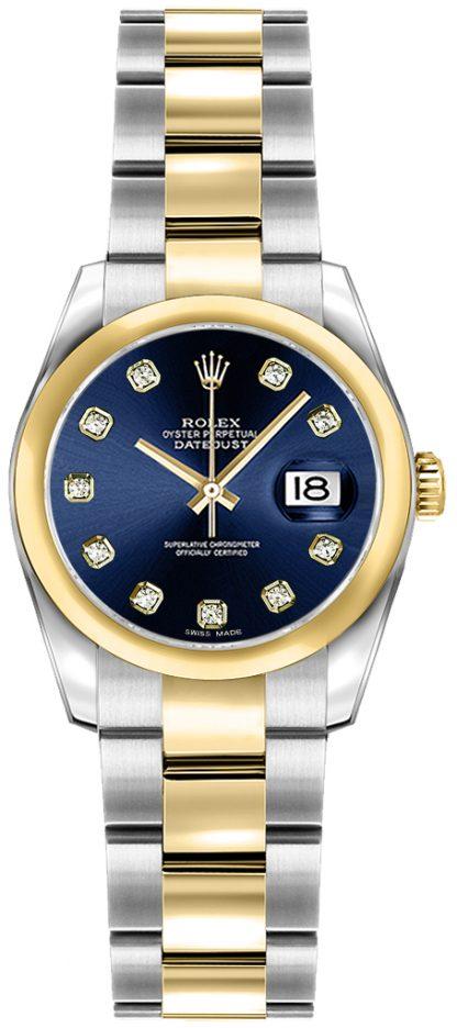 replique Rolex Lady-Datejust 26 Blue Diamond Oyster Bracelet Watch 179163