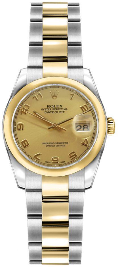 replique Rolex Lady-Datejust 26 Champagne Dial Diamond Watch 179163