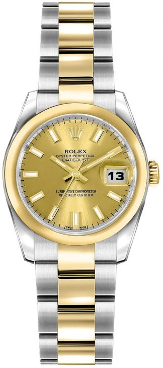 replique Rolex Lady-Datejust 26 Champagne Dial Gold & Steel Watch 179163