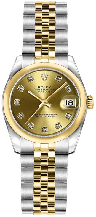 replique Rolex Lady-Datejust 26 Champagne Diamond Dial Watch 179163