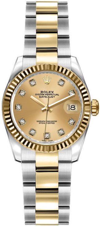 replique Rolex Lady-Datejust 26 Champagne Diamond Dial Watch 179173