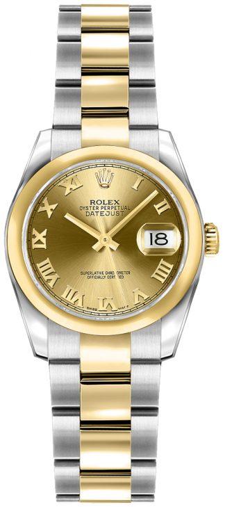 replique Rolex Lady-Datejust 26 Champagne Roman Numeral Dial Watch 179163