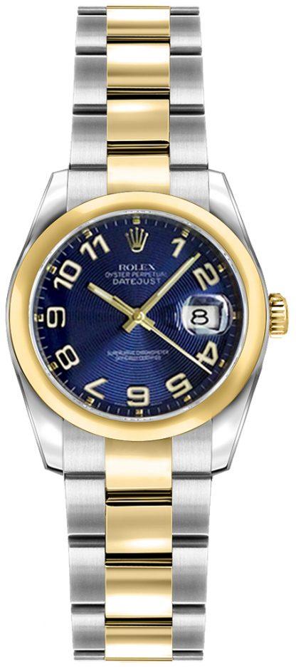 replique Rolex Lady-Datejust 26 Concentric Circle Blue Dial Watch 179163