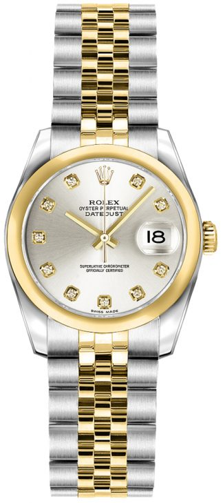 replique Rolex Lady-Datejust 26 Diamond Silver Dial Watch 179163
