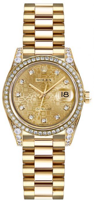 replique Rolex Lady-Datejust 26 Gold Diamond Watch 179158