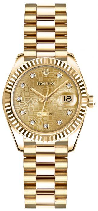 replique Rolex Lady-Datejust 26 Gold Diamond Watch 179178