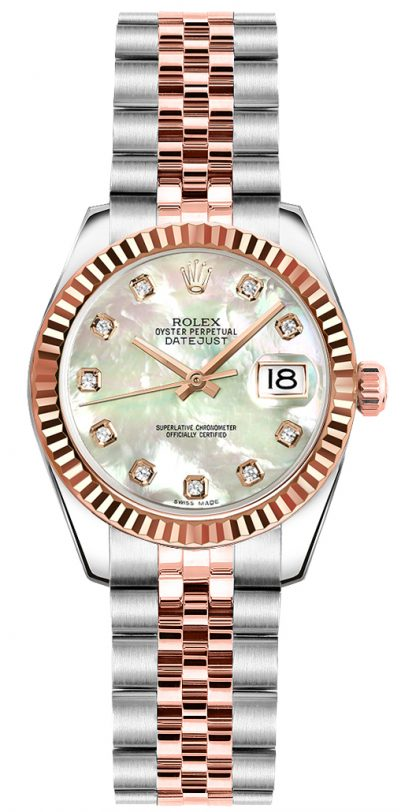 replique Rolex Lady-Datejust 26 Mother of Pearl Diamond Dial Watch 179171