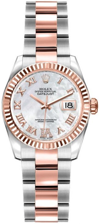 replique Rolex Lady-Datejust 26 Mother of Pearl Rose Gold & Steel Watch 179171
