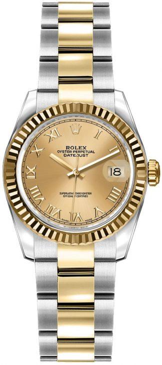replique Rolex Lady-Datejust 26 Oyster Bracelet Roman Numeral Dial Watch 179173