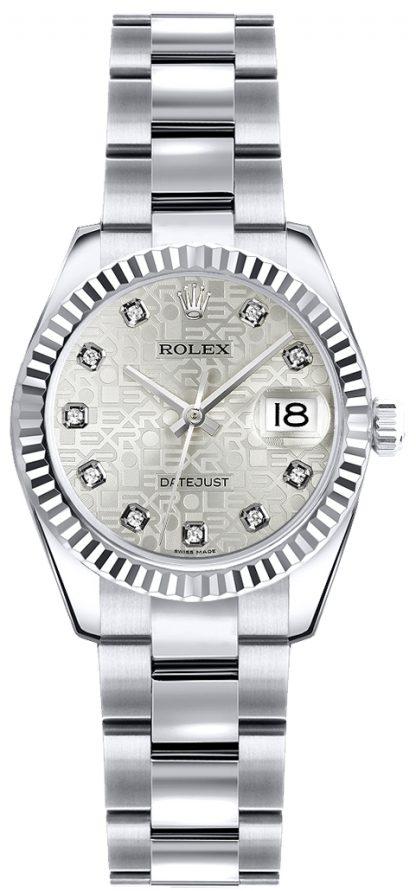 replique Rolex Lady-Datejust 26 Oyster Bracelet cadran jubilé argenté 179179