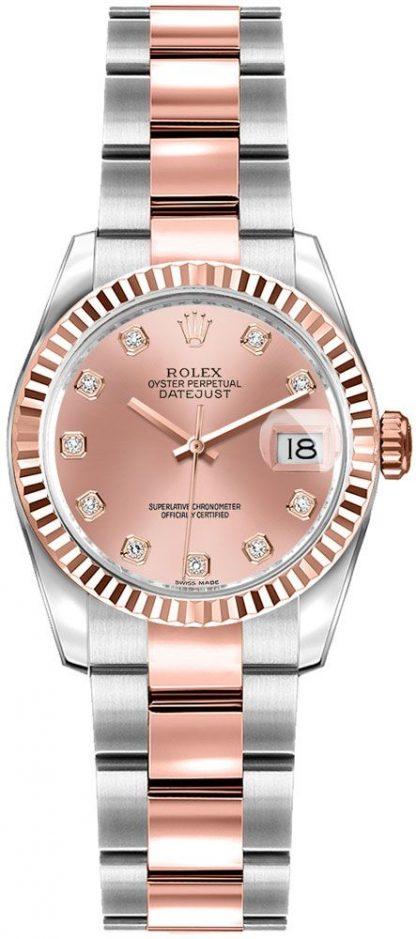 replique Rolex Lady-Datejust 26 Pink Diamond Dial Watch 179171