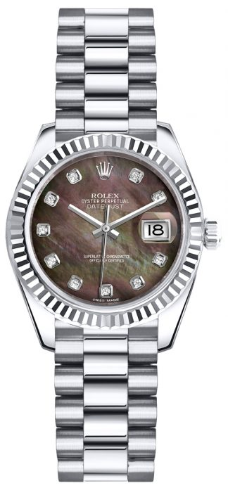 replique Rolex Lady-Datejust 26 President Bracelet Diamond Gold Watch 179179