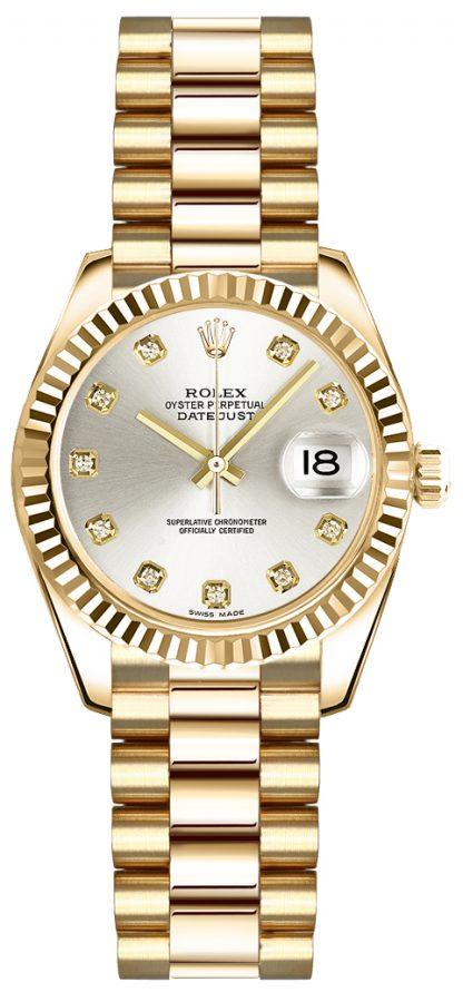 replique Rolex Lady-Datejust 26 Silver Diamond Dial Montre en or 179178