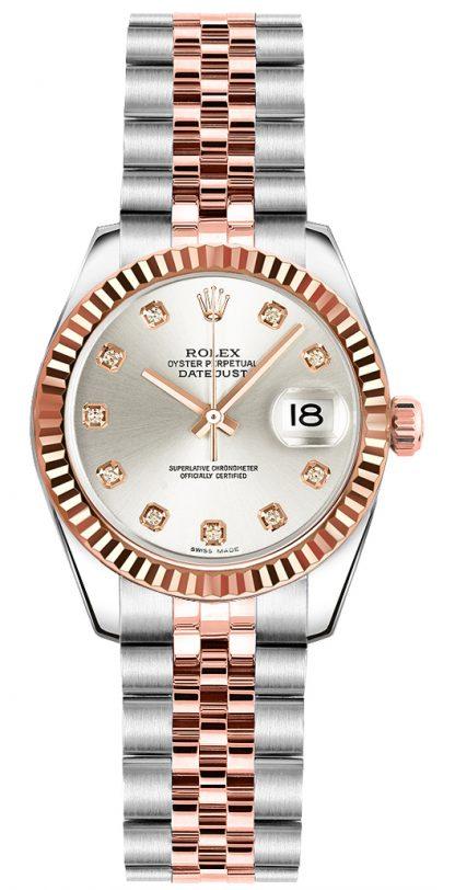 replique Rolex Lady-Datejust 26 Silver Diamond Dial Watch 179171