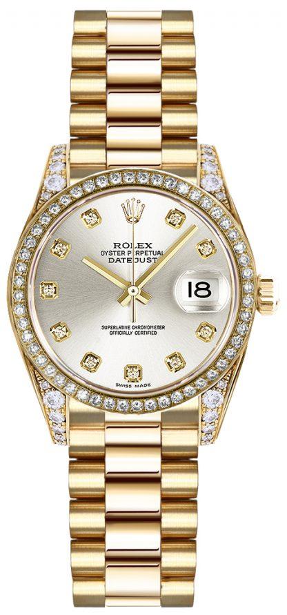 replique Rolex Lady-Datejust 26 Silver Diamond Watch 179158