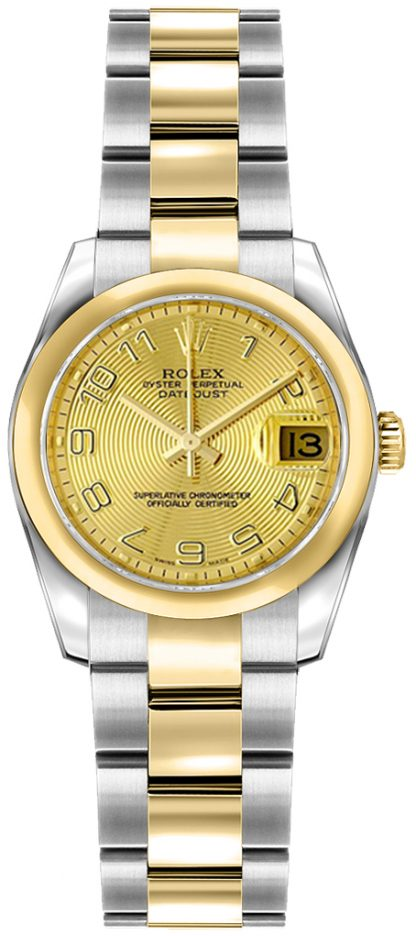 replique Rolex Lady-Datejust 26 Solid 18K Yellow Gold Domed Bezel Watch 179163