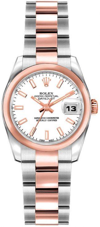 replique Rolex Lady-Datejust 26 White Dial Oyster Bracelet Gold & Steel Watch 179161