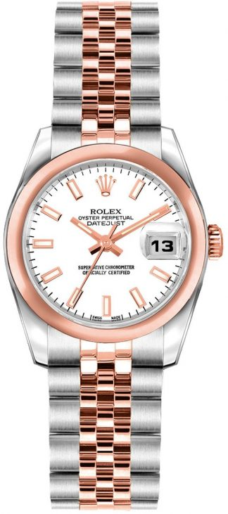 replique Rolex Lady-Datejust 26 White Dial Rose Gold & Steel Watch 179161