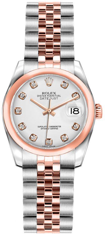 replique Rolex Lady-Datejust 26 White Diamond Dial Watch 179161