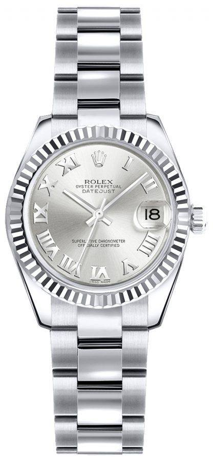 replique Rolex Lady-Datejust 26 argent cadran à chiffres romains 179179