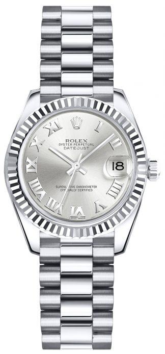 replique Rolex Lady-Datejust 26 argent cadran chiffre romain or montre 179179