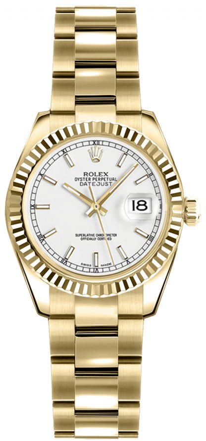 replique Rolex Lady-Datejust 26 cadran argenté montre en or 179178