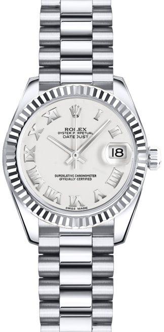 replique Rolex Lady-Datejust 26 cadran blanc à chiffres romains 179179
