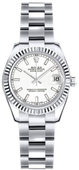 replique Rolex Lady-Datejust 26 cadran blanc montre en or 179179