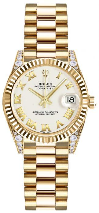 replique Rolex Lady-Datejust 26 cadran blanc montre en or jaune 179238