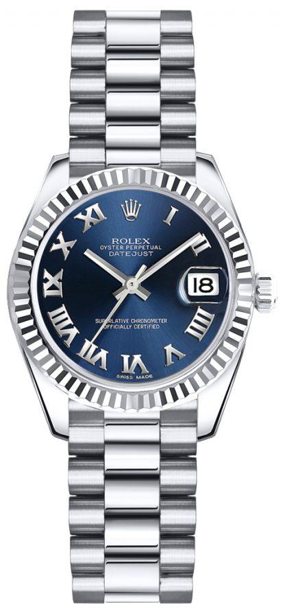 replique Rolex Lady-Datejust 26 cadran bleu chiffres romains 179179