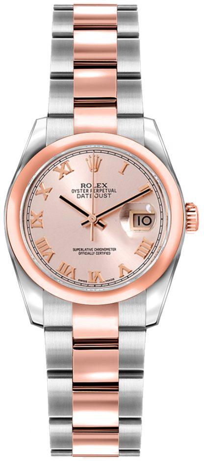 replique Rolex Lady-Datejust 26 cadran chiffres romains roses or et acier 179161