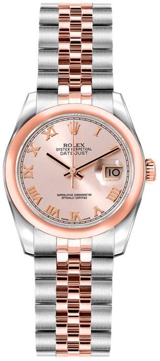 replique Rolex Lady-Datejust 26 cadran chiffres romains roses or rose et acier 179161
