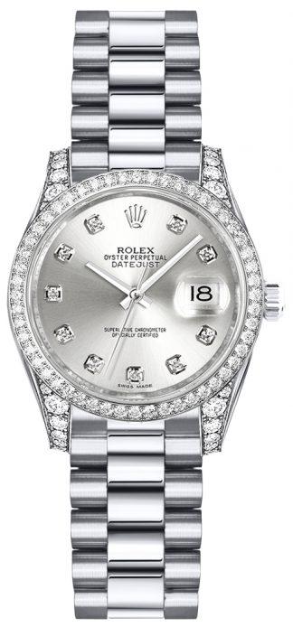 replique Rolex Lady-Datejust 26 cadran diamant argenté montre en or blanc 179159