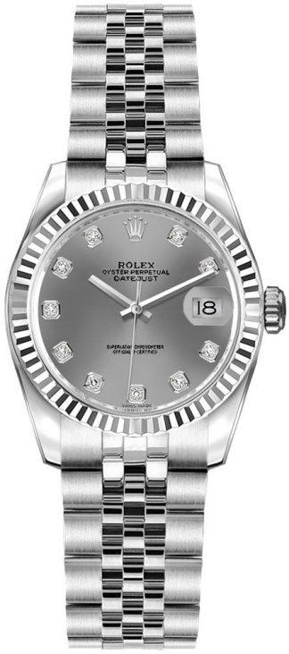 replique Rolex Lady-Datejust 26 cadran diamant gris rhodium 179174